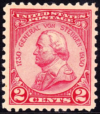 Friedrich Wilhelm von Steuben - General Von Steuben on a two-cent postage stamp, 1930 issue