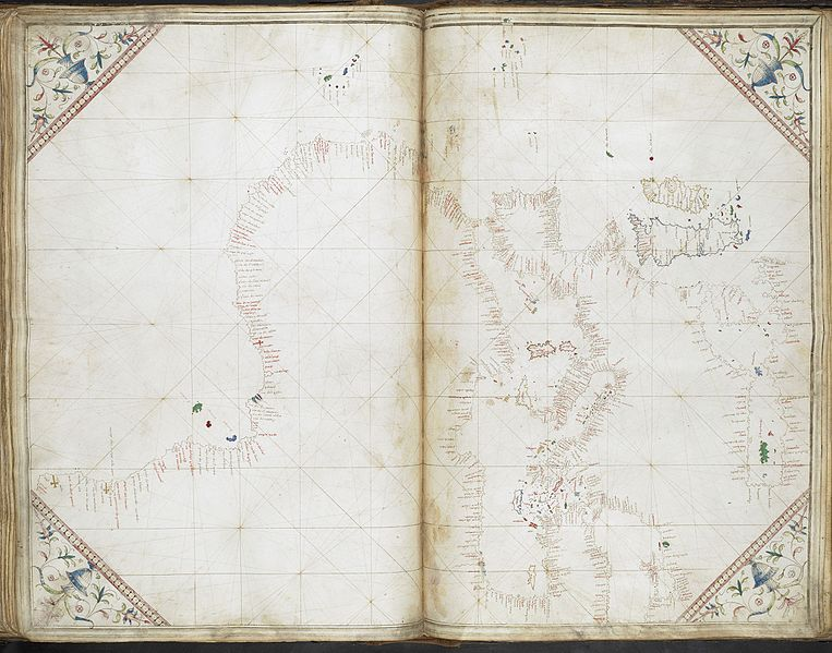 File:General chart of the coasts of Europe, the Black Sea, the Mediterranean, and the western coast of Africa south to Cape Negro.- Cornaro Atlas (Egerton MS 73, f.36r).jpeg