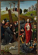 Gerard David - Christ Carrying the Cross, with the Crucifixion, The Resurrection, with the Pilgrims of Emmaus - 1975.1.119A-B - Metropolitan Museum of Art.jpg