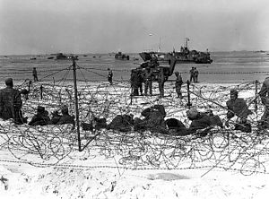 Utah Beach - German prisoners of war in an enclosure on Utah.