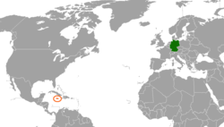 Map indicating locations of Germany and Jamaica