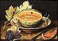 Giovanna garzoni, natura morta con popone su ub piatto, uva e una chiocciola, 1642-51 ca. 02.JPG