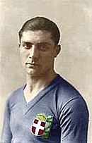 Giuseppe Meazza in the early 1930s wearing Italy's blue shirt with the cross of the House of Savoy badge.