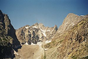 Barre des Écrins - South face of the Barre (on the right). Below is Coolidge Peak and Le Fifre.