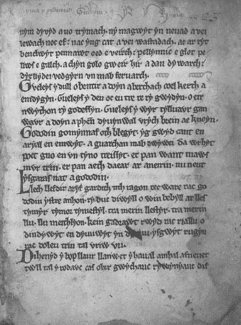 A page from the Book of Aneirin shows the first part of the text from the Y Gododdin, c. sixth century Gododdin1.jpg
