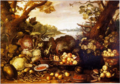 Gommaert van der Gracht - Basket and Plates of Fruit, with Vegetables and a Squirrel.tiff