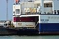 Gooseneck trailer on terminal tractor unloading RoRo ship Bore Song.jpg
