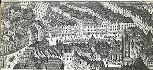 St. Peter's Church, Vienna - View of the Graben with the mediaeval church (Jacob Hoefnagel, 1609)