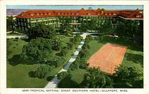 Gulf and Ship Island Railroad - Great Southern Hotel, Gulfport, Mississippi, USA, circa 1920