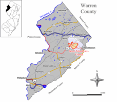 Map of Great Meadows-Vienna CDP in Warren County
