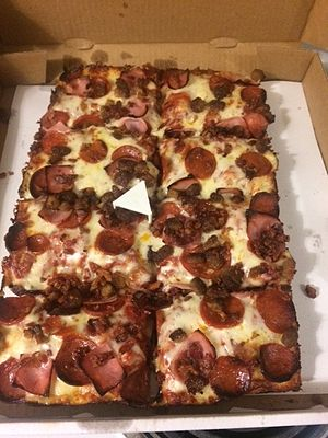 Detroit-style pizza - Small Detroit-style pizza from Green Lantern Pizza in Madison Heights, Michigan.