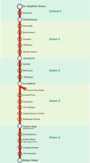 Luas Green Line map