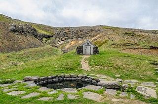 Guðrúnarlaug thermal bath in Iceland
