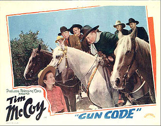 Tim McCoy - McCoy on horse in Gun Code, 1940