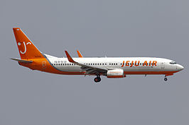 Een Boeing 737-800 van Jeju Air landend op Seoul Incheon International Airport