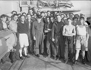 HMS Kimberley (F50) - Winston Churchill with members of Kimberley's crew