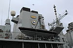 HMS Northumberland (F238) at West India South Dock - speed boat 01.JPG
