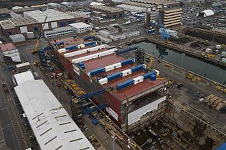 HMS Prince of Wales (R09) - Prince of Wales under construction at Rosyth Dockyard in December 2014