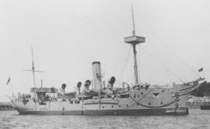 HMS Rinaldo c. 1908 with sailing rig removed