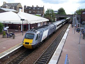 Falkirk Grahamston railway station - East Coast InterCity 125 departing Falkirk Grahamston with a southbound Highland Chieftain service to London King's Cross. The Highland Chieftain, a diesel InterCity 125 service between London King's Cross and Inverness, calls at Falkirk Grahamston. There is only one of these trains per day.