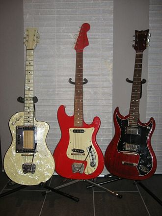 Hagström - Three generations of Hagström guitars: A Standard 80 made in 1960, a Kent II made in 1964 and a HIIN OT made in 1975.