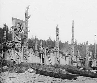 Haida Gwaii - Houses and totem poles, Skidegate, 26 July 1878 (George Mercer Dawson, Geological Survey of Canada, NAC-PA-37756)