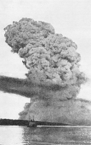 Largest artificial non-nuclear explosions - A view of the Halifax Explosion pyrocumulus cloud, most likely from Bedford Basin looking toward the Narrows 15–20 seconds after the explosion
