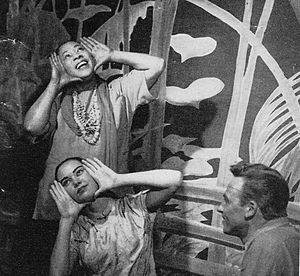 "Happy Talk (song) - From top: Juanita Hall as Bloody Mary singing ""Happy Talk"", Betta St. John as Liat, and William Tabbert as Lt. Cable in the original Broadway cast of South Pacific (1950)."