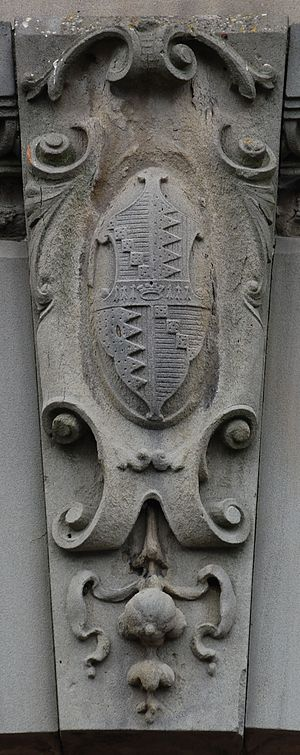 Coat of arms of Birmingham - The coat of arms incorporated into a keystone over an entrance to the former City of Birmingham fire station at Harborne.