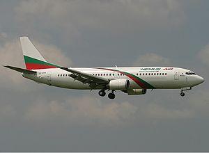 Hemus Air - A Hemus Air Boeing 737-400 landing at Ruzyně Airport, Czech Republic. (2005)