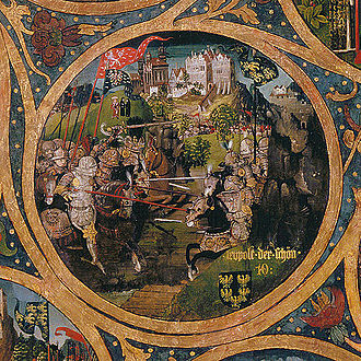Leopold II, Margrave of Austria - Leopold the Fair at the Battle of Mailberg, Babenberger Stammbaum, Klosterneuburg Monastery, 1489–1492
