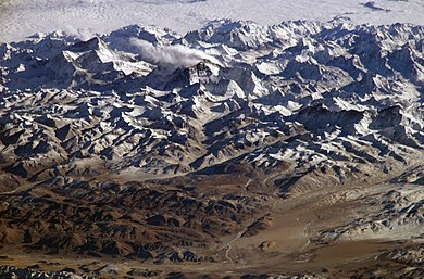 The Himalayas as seen from space looking south from over the Tibetan Plateau. Himalayas.jpg