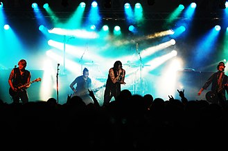 Hinder - Hinder performing in 2009.