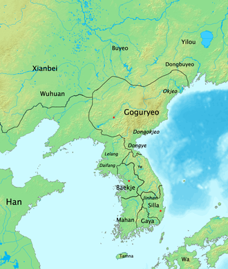 Goguryeo–Wei War - The Korean peninsula after Gongsun Kang's exploitation of the succession feud, 204. The red star in Goguryeo represents the location of the new capital, Hwando.