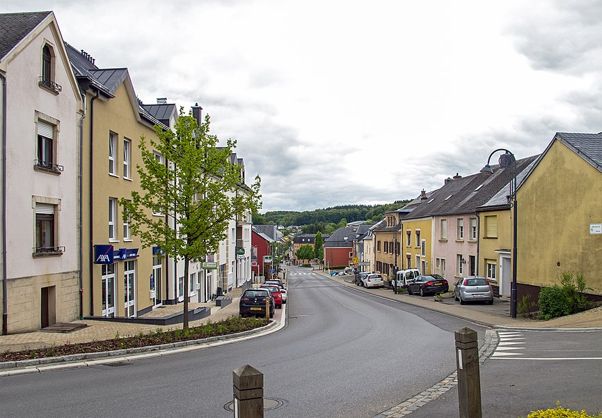 View from the church through the Grand-Rue in Hobscheid
