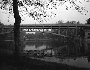 Hollenbeck Park - Footbridge over the lake, near the Boyle Ave. entrance (1955).