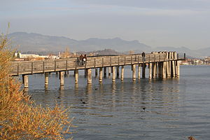 Hurden - Holzbrücke Rapperswil-Hurden as seen from Hurden, Rapperswil to the left, Jona to the right