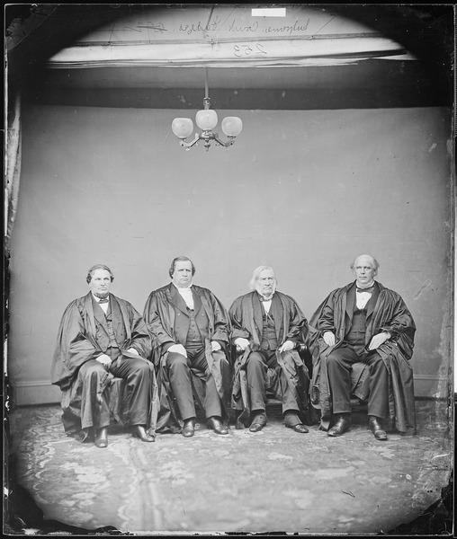 File:Hon. Salmon P. Chase, Chief Justice, U.S., Hon. Nathan Clafford, Maine., Hon. Samuel F. Miller, U.S. Supreme Court.... - NARA - 528279.tif
