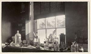Honor Fell - Fell's work area at Strangeways, ca. 1950.