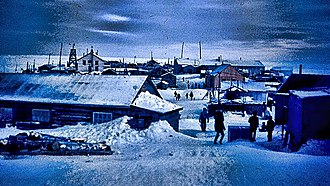 Hooper Bay, Alaska - Hooper Bay, Alaska. Looking south through the town in 1969.