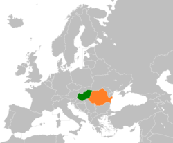 Map indicating locations of Ungaria and Romania