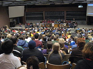 MIT Mystery Hunt - The 2007 hunt concludes with a wrap-up session in the large 26-100 lecture hall.