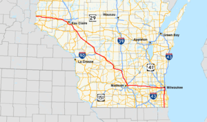 Interstate 94 in Wisconsin - Image: I 94 (WI) map