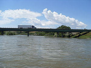 Interstate 25 in Wyoming - I-25 bridge over the North Platte River at Douglas