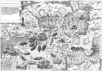 Antonio Salamanca - The sea battle of Preveza, 1538,  Copper engraving by Antonio Salamanca
