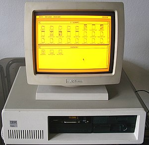 PC displaying GEM desktop in EGA on a monochome monitor