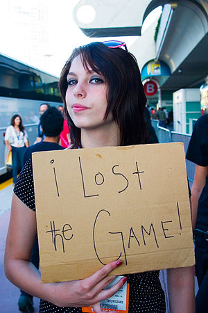 The Game (mind game) - A player announces her loss of The Game at San Diego Comic-Con International in July 2008.
