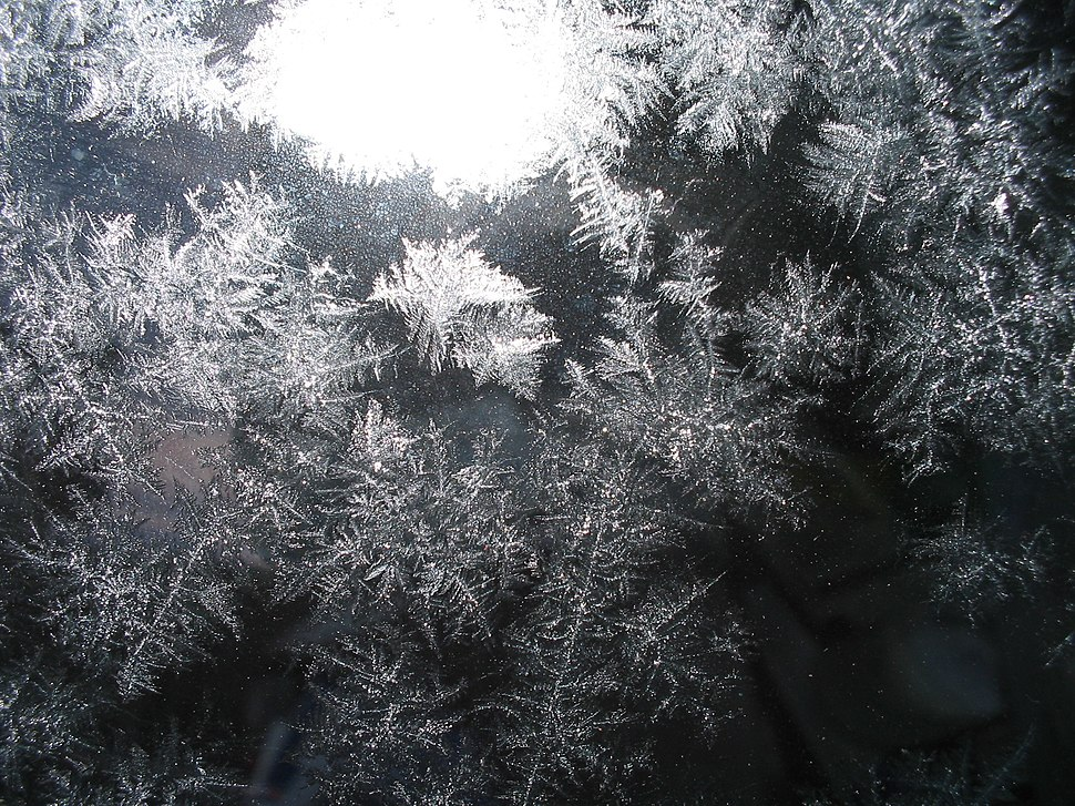 Ice crystals on glass