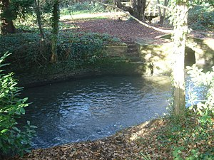 Ifield Water Mill - Ifield Brook as it flows into the mill pond