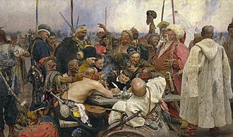 Ukrainians - Reply of the Zaporozhian Cossacks to Sultan Mehmed IV of Turkey. Painted by Ilya Repin from 1880 to 1891. Two pikes on the left are wrapped in the traditional colors of Ukraine – blue/yellow and red/black.